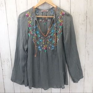 Johnny Was Silk Embroidered Long Sleeve Sz XS ::F2
